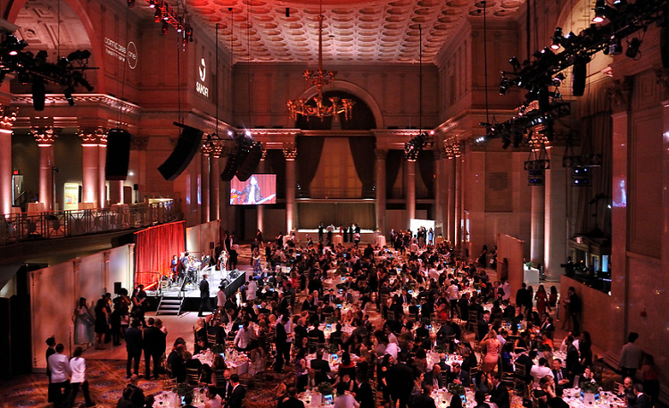 Overhead view of filled ballroom